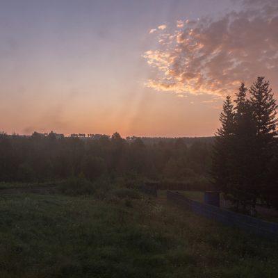 Transibirische Eisenbahn: Sonnenuntergang in Sibirien
